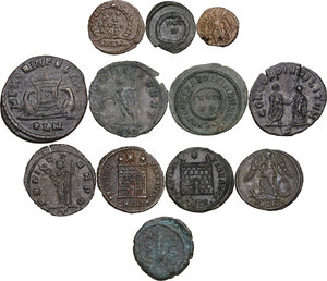 The Roman Empire.. Multiple lot of twelve (12) unclassified AE coins