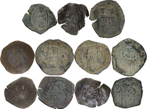 reverse: The Byzantine Empire.. Multiple lot of eleven (11) unclassified AE late coins