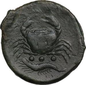 reverse: Akragas. AE Tetras, 425-410 BC
