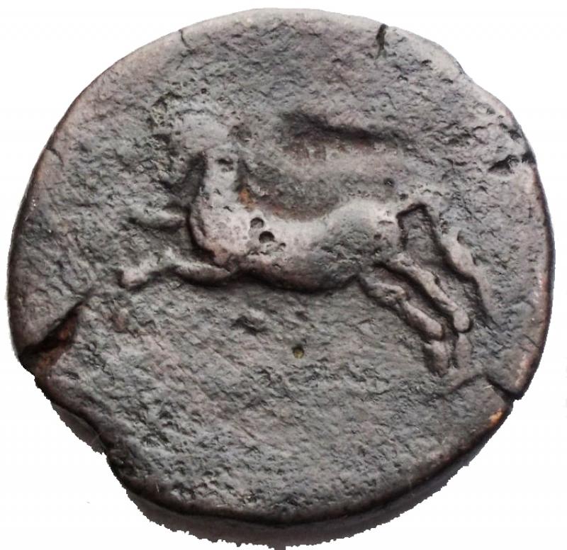 reverse: Mondo Greco - Africa. Numidia. Micipsa. 148-118 a.C. AE. D/ Testa laureata di Micipsa a sinistra. R/ Cavallo al galoppo a sinistra. Peso gr 11,8. Diametro 25,6 mm. MB-qBB.