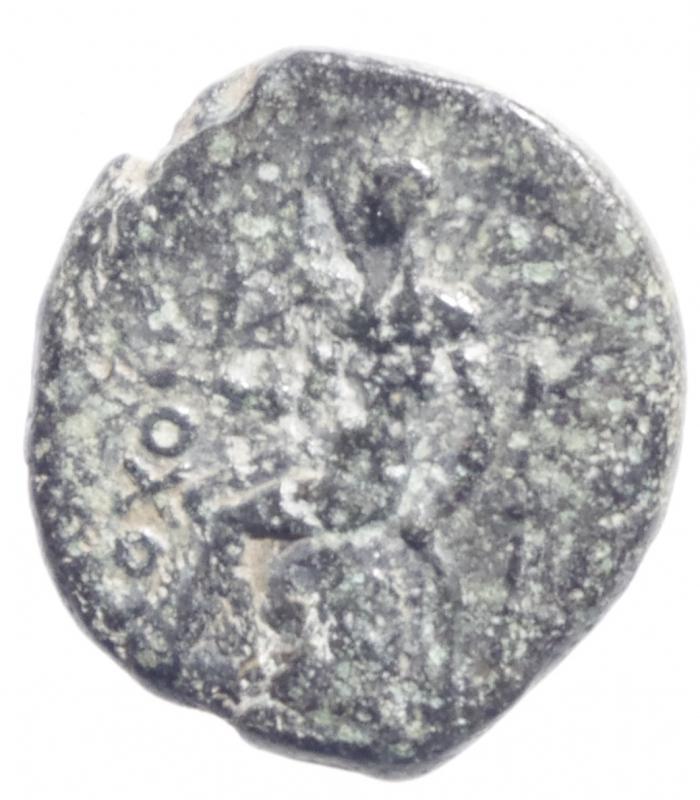 reverse: Mondo Greco.Regno Seleucide .Antioco I Soter 280-261 a.C.AE 15. D\ Testa elmata di Antioco a destra R/ Apollo seduto a sinistra su omphalos. SNG Spaer 209.Diametro 15 mm.BB+.R Patina Verde