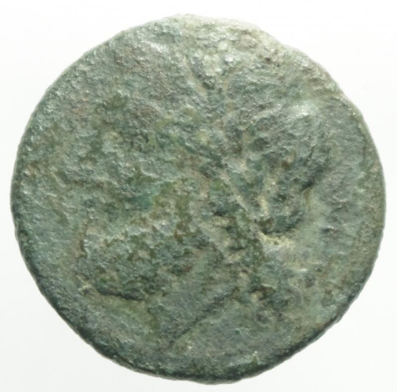 obverse: Mondo Greco .Apulia Arpi. Ca 325-250 a.C. AE 20,9 x 21,1 mm. D/ Testa di Zeus a sinistra. R/ Cinghiale a destra, sopra lancia. 6,98 gr. HN Italy 642. MB