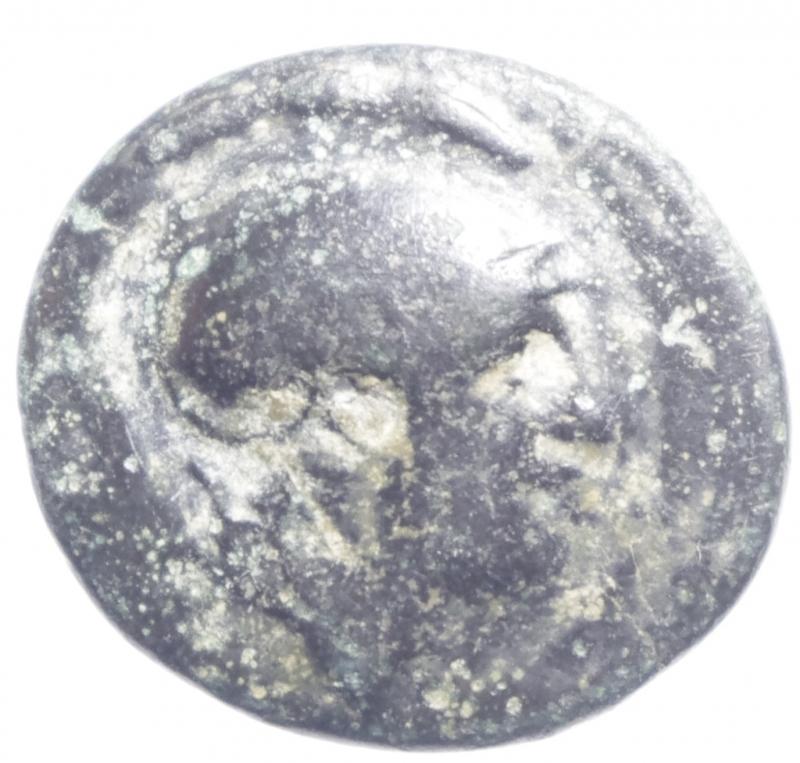 obverse: Mondo Greco. Tracia. Lisimaco. 305-281 a.C. Ae. D/ Testa di Athena elmata a destra. R/ / [] Leone corre verso destra sotto punta di lancia. Peso 5,45 gr. Diametro 22,50 mm. BB. Patina Verde.