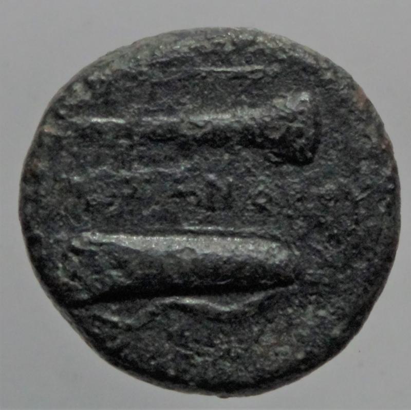 reverse: Mondo Greco. Macedonia. Alessandro Magno. 336-323 a.C. Ae. D/ Testa di Eracle con pelle di leone. R/ Clava arco faretra e elmo. Peso 5,80 gr. Diametro 17,39 mm. qBB.