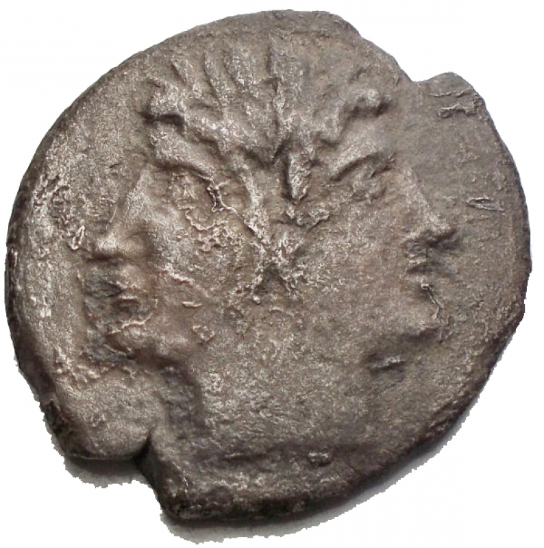 obverse: Repubblica Romana -Quadrigato Ag-Ae 213-212 a.C.D/ Testa laureata di Giano.R/ Jupiter su quadriga a destra. Sotto ROMA.RifCr. 28/3.gr. 4,56.qBB.