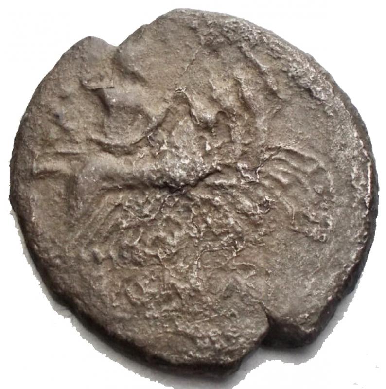 reverse: Repubblica Romana -Quadrigato Ag-Ae 213-212 a.C.D/ Testa laureata di Giano.R/ Jupiter su quadriga a destra. Sotto ROMA.RifCr. 28/3.gr. 4,56.qBB.