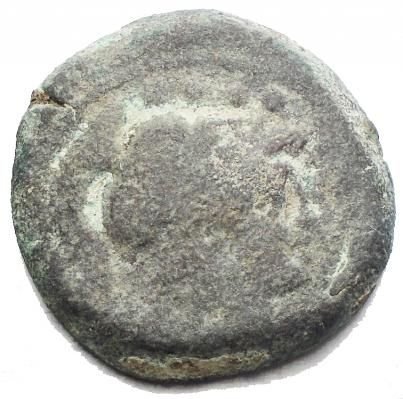 obverse: Repubblica Romana -Serie  toro e MD .Triente,ca 189-180.D/ Testa di Minerva elmata a destraR/ Prua a destra; sopra Toro-MD, sotto, ROMA.Syd. 299b. Cr. 142/3.AE.g 8,65.mm 21,83. RR.Molto Raro