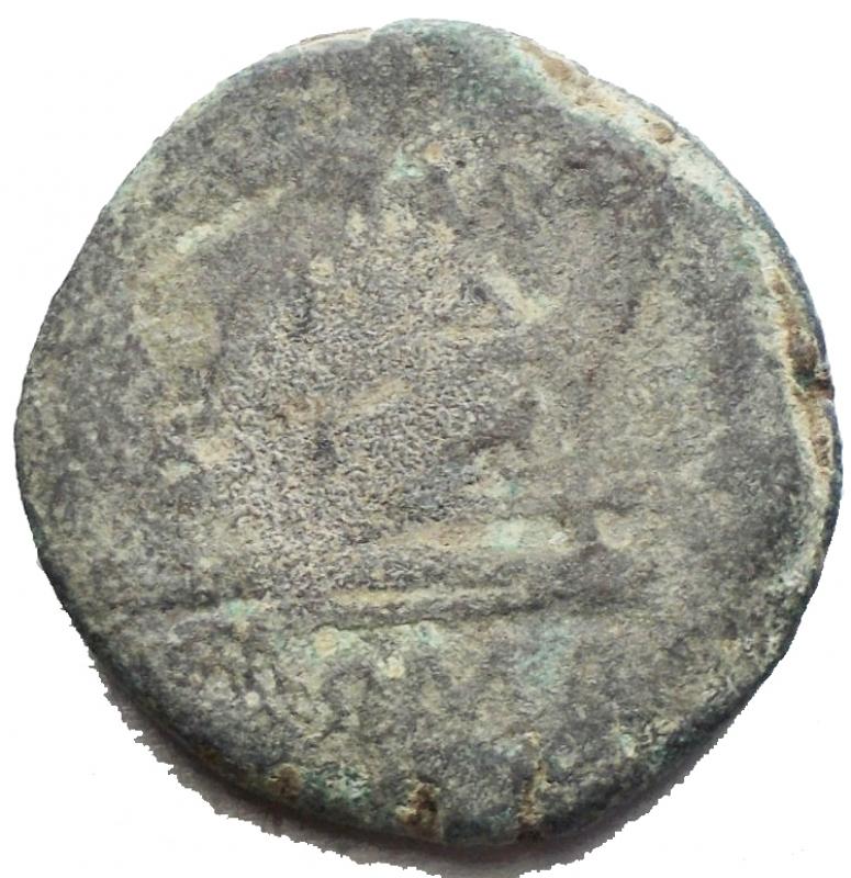 reverse: Repubblica Romana -Serie  toro e MD .Triente,ca 189-180.D/ Testa di Minerva elmata a destraR/ Prua a destra; sopra Toro-MD, sotto, ROMA.Syd. 299b. Cr. 142/3.AE.g 8,65.mm 21,83. RR.Molto Raro