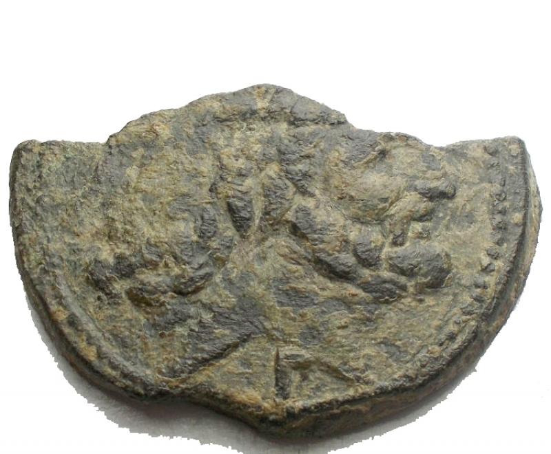 obverse: Repubblica Romana - Serie P seconda serie. Luceria 206-195 aC. Asse Frazionato Ae. Rif. Crawford 99/1a. BB+/BB. Patina verde.R