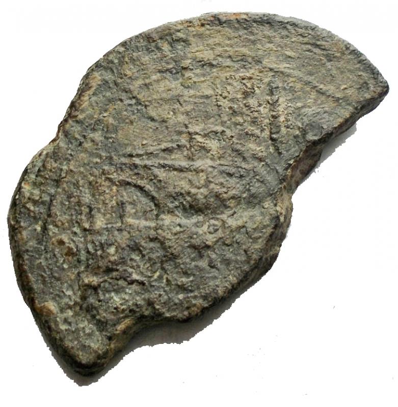 reverse: Repubblica Romana - Serie P seconda serie. Luceria 206-195 aC. Asse Frazionato Ae. Rif. Crawford 99/1a. BB+/BB. Patina verde.R