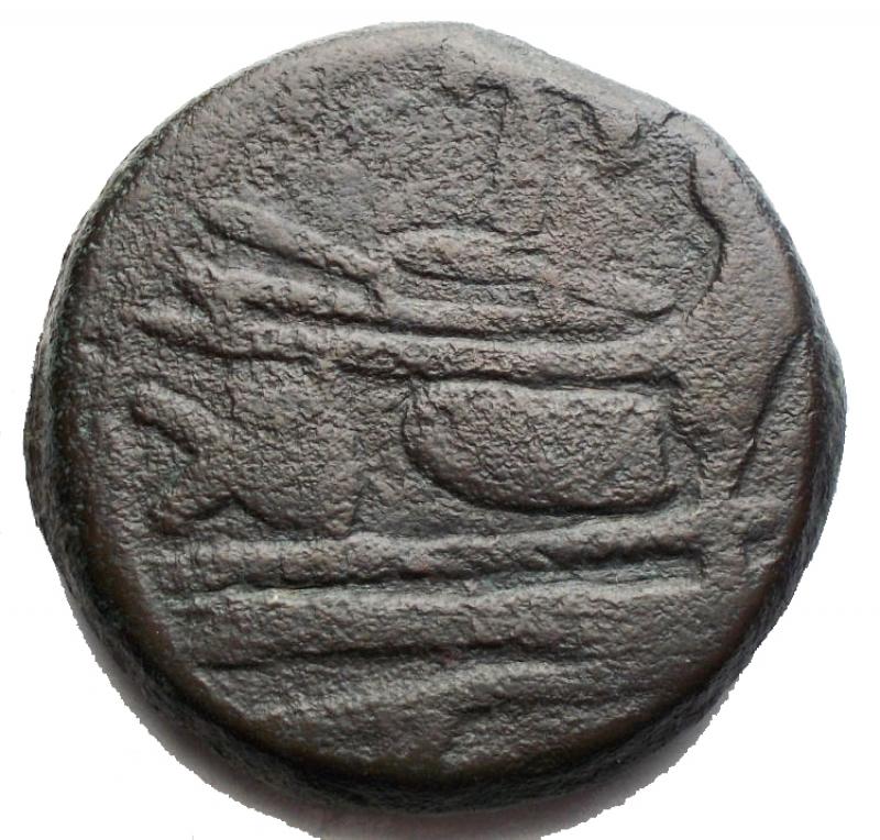 obverse: Repubblica Romana - Serie  PT oTP .Asse, ca. 169-158 a.C.D/ Testa laureata di Giano, sopra segno di valore I.R/ Prua a destra; sopra PTSyd. 353. Cr. 177/1.AE.g 27,934.mm 30,04.qBB.