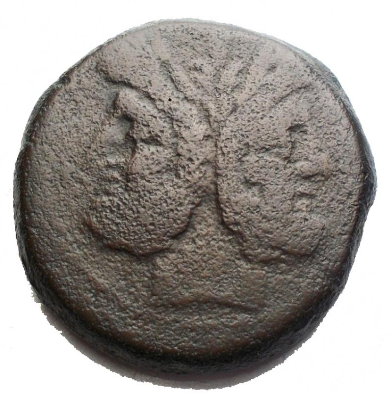 reverse: Repubblica Romana - Serie  PT oTP .Asse, ca. 169-158 a.C.D/ Testa laureata di Giano, sopra segno di valore I.R/ Prua a destra; sopra PTSyd. 353. Cr. 177/1.AE.g 27,934.mm 30,04.qBB.
