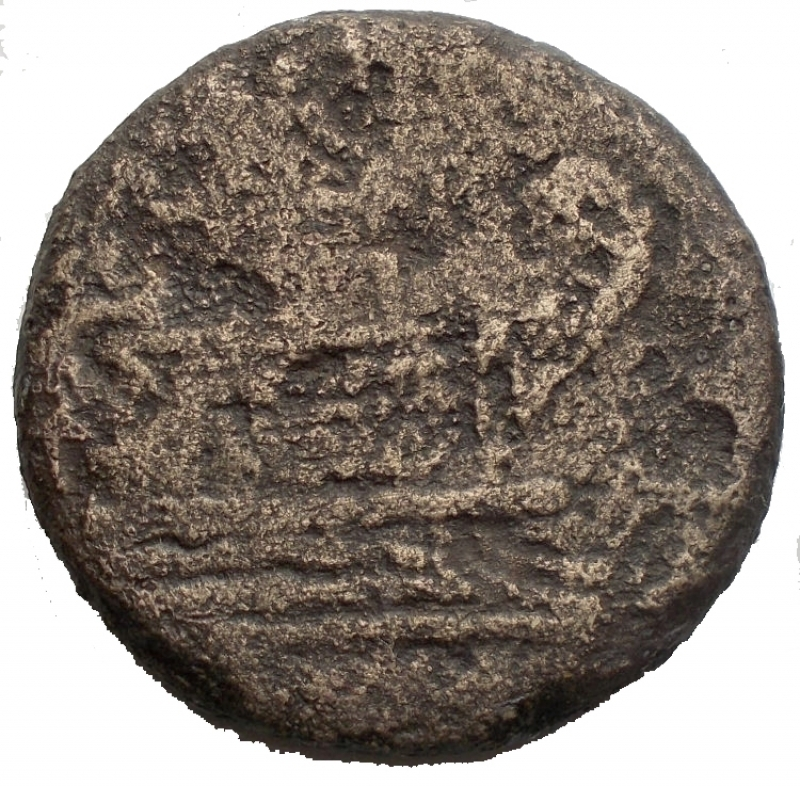 reverse: Repubblica Romana - Anonymous (Victory and LFP series), Semis, Rome, 189-180 BC; AE (g 15,07; mm 25,33); Laureate head of Saturn r.; behind, S, Rv. Prow r.; above, Victory with wreath and LFP; before, S; below, ROMA. Crawford 144/2; Furia 2; Sydenham 300 Extremely rare. Fine