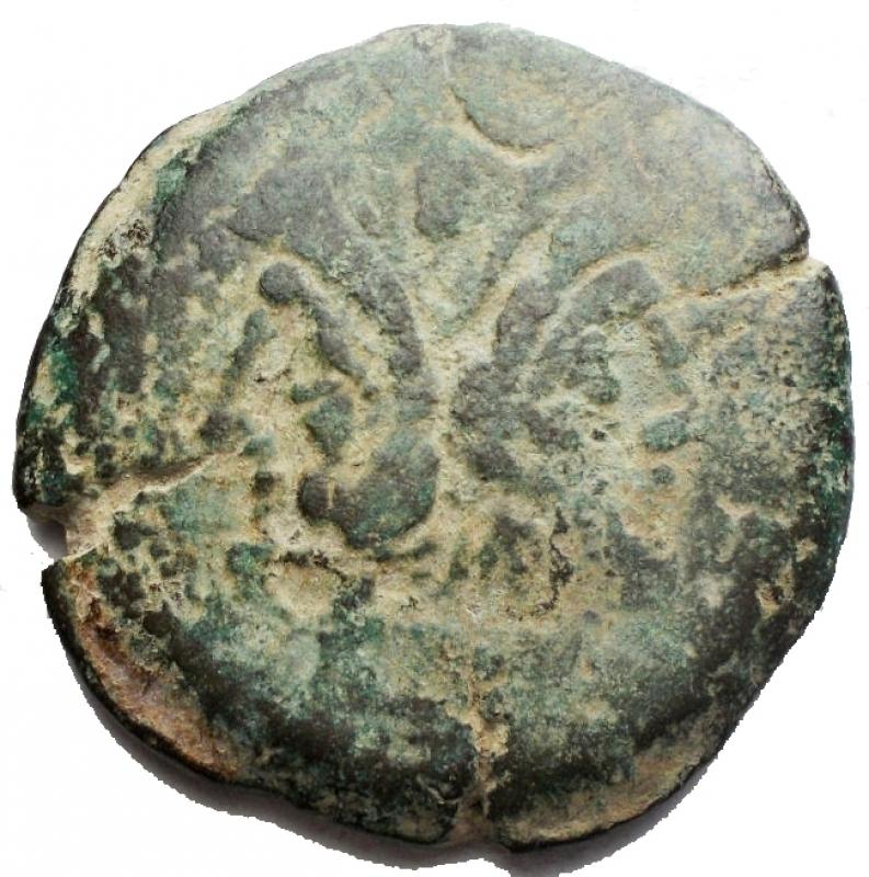 obverse: Repubblica Romana - Asse Ae. Serie da identificare. Bull ? g 21,75. mm 32,14. Patina verde