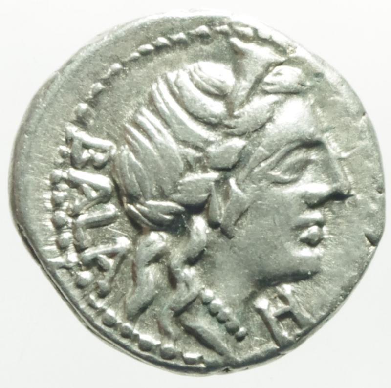 obverse: Repubblica Romana. Gens Aelia o Allia. Caius Allius Bala. 92 a.C. Denario. D/ BALA Testa diademata di Diana a destra, davanti una N. R/ C ALLI (Caius Allius) Diana su biga di cervi verso destra; sotto simbolo; il tutto in una corona d alloro Peso 3,8 g. Diametro 16x17 mm. Cr. 336/1. BB+. NC.
