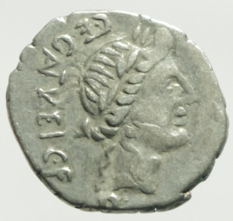 obverse: Repubblica Romana. Gens Egnatuleia. C. Egnatuleius C.f. ca 97 a.C. Quinario. Ag. D/ CEGNATVLEICFQ Testa laureata di Apollo a destra. R/ Vittoria a sinistra; inscrive uno scudo posto su un trofeo, nel campo a sinistra carnyx. Nel campo al centro, Q. In esergo ROMA. B. Egnatuleia 1. Syd. 588. Cr. 333/1. Peso gr. 1,80. Diametro mm. 15,00. BB+.