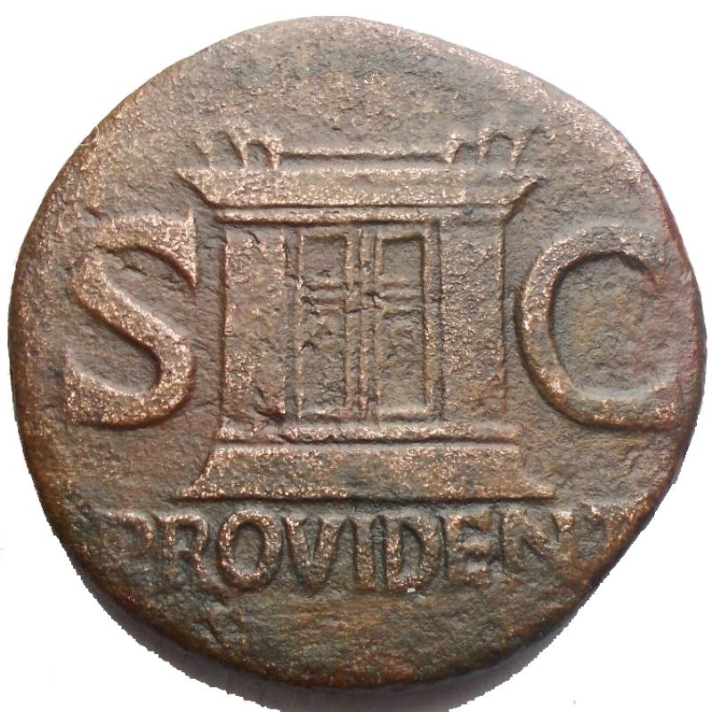 obverse: Impero Romano - Augusto. 27 a.C. - 14 d.C. Asse. d/ Testa di Augusto verso sinistra  r/ Altare tra SC. RIC.81 (Tiberio). Peso 9,83 gr. Diametro 27,4 mm. qBB.