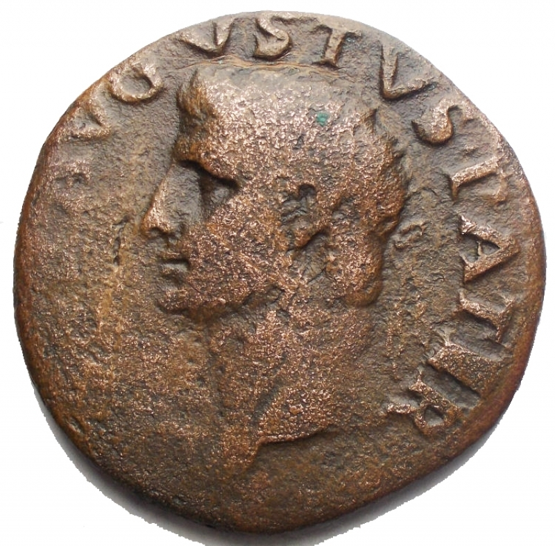 reverse: Impero Romano - Augusto. 27 a.C. - 14 d.C. Asse. d/ Testa di Augusto verso sinistra  r/ Altare tra SC. RIC.81 (Tiberio). Peso 9,83 gr. Diametro 27,4 mm. qBB.