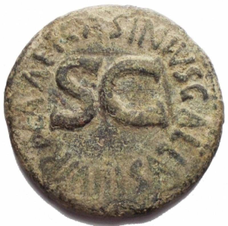 reverse: Impero Romano - Augustus (27 ac - 14 dc) C. Asinius Gallus. Dupondio Ae. 16 ac. d/ Legenda in tre linee entro corona r/ Grande SC entro legenda. RIC (2nd ed.) 371. g 9,66. mm 26,26. BB+. Intonso