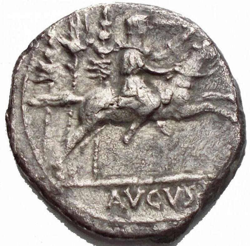 obverse: Impero Romano - AUGUSTUS (27 BC-AD 14). Denarius. Lugdunum. Obv: DIVI F AVGVSTVS. Laureate head right. Rev: (C CAES) / AVGVS (F) Gaius Caesar on horseback galloping right, holding sword and reins; behind, aquila between two signa. RIC² 199. Weight: 3.45 g. Diameter: 18,4 mm. Good VF