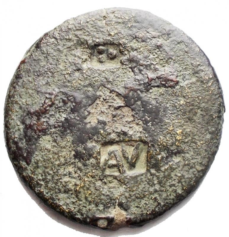reverse: Impero Romano - Augusto (27 a.C-14 d.C). Sesterzio. Contromarche. g 21,04. mm 33,4. Ae. MB+. R
