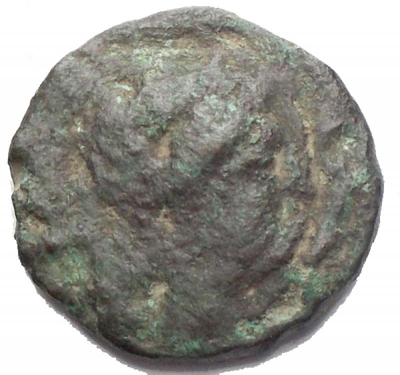 obverse: Mondo Greco - Apulia. Luceria. 211-200 a.C.Oncia. D/ Testa di Apollo verso destra. R/ LOVCERI Rana. SNG ANS 709. Peso 2,06 gr. Diametro 14,42 mm. MB-qBB