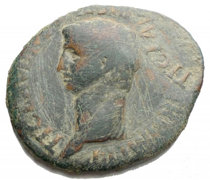 obverse: Impero Romano - Claudio. 41-54 d.C. Asse. D/ Testa di Claudio verso sinistra. R/ S C /Minerva a destra con scudo e lancia. Peso 11,37 gr. Diametro max 30,8 x 26,01. qBB.