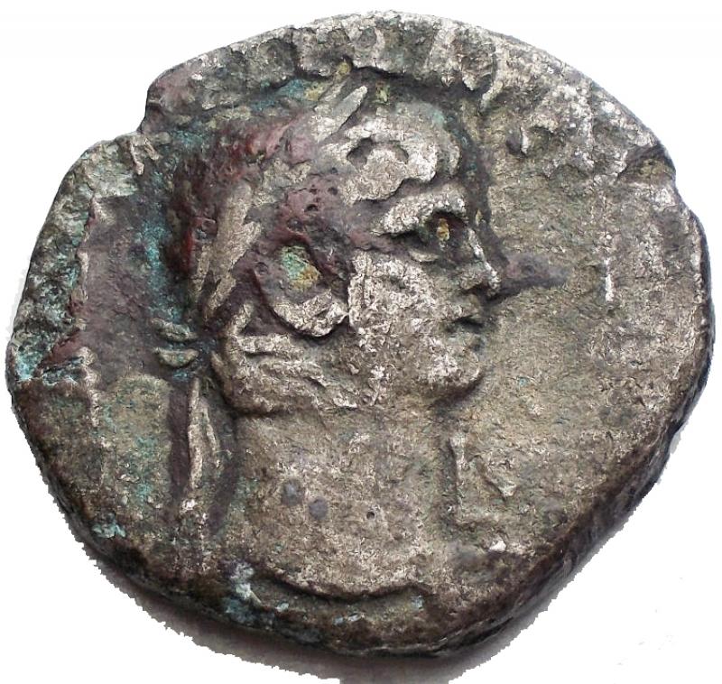 obverse: Impero Romano - Claudius (41-54 AD). Billon Tetradrachm (25,5 mm - 9,93 g), Egpyt, Alexandria. Dated year 6 (45/46 AD). Obv. TI KΛAVΔI KAIΣ ΣEBA ΓEPMANI AVTOK, Laureate head of Claudius to right; Lς (date) to right. Rev. MEΣΣAΛINA KAIΣ ΣEBAΣ, Messalina standing half-left, leaning on column, holding two grain-ears and figures of two children. Geissen 88; RPC 5164. aVF.§