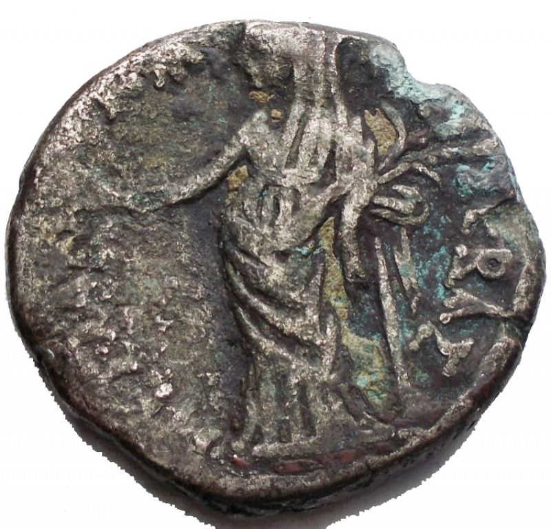 reverse: Impero Romano - Claudius (41-54 AD). Billon Tetradrachm (25,5 mm - 9,93 g), Egpyt, Alexandria. Dated year 6 (45/46 AD). Obv. TI KΛAVΔI KAIΣ ΣEBA ΓEPMANI AVTOK, Laureate head of Claudius to right; Lς (date) to right. Rev. MEΣΣAΛINA KAIΣ ΣEBAΣ, Messalina standing half-left, leaning on column, holding two grain-ears and figures of two children. Geissen 88; RPC 5164. aVF.§