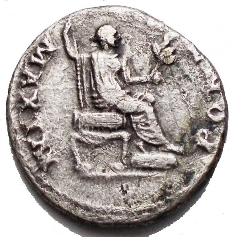 reverse: Impero Romano - Vespasiano. 69-79 d.C. Denario. Roma 73 d.C. Ag. D/ IMP CAES VESP  AVG CENS, Testa laureata a destra. R/ PONTIF  MAXIM, Vespasiano seduto verso destra. regge scettro e ramoscello. RIC I 65 = II 546; C 387. Peso gr. 3,16. Diametro mm. 17,86. qBB-BB.