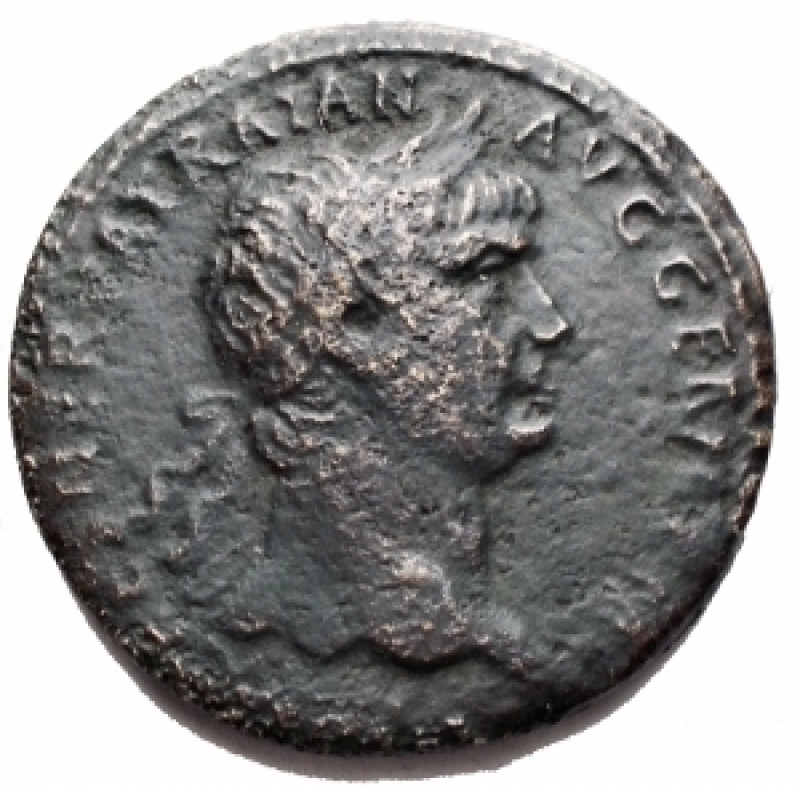 obverse: Impero Romano - Traiano (98-117). Sesterzio. D/ Testa laureata a destra. R/ TR POT COS IIII PP SC. Pax seduta a sinistra. RIC 390. gr. 24,23. mm 34,08. AE. qBB