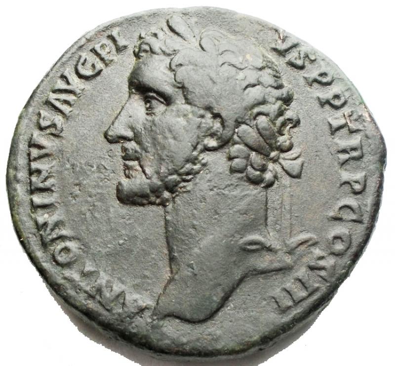 obverse: Impero Romano - Antonino Pio (138-161). Sesterzio. D/ ANTONINVS AVG PIVS PP TR P COS III. Testa laureata a sinistra. R/ IMPERATOR II SC. Fides, stante di fronte con il capo a destra, tiene due spighe di grano e un cesto pieno di frutti. AE. g. 26.86 mm. 31.67. BB+. R