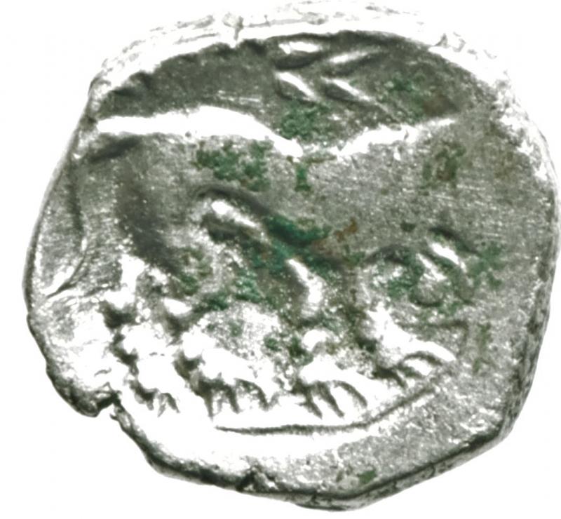 reverse: Mondo Greco. Celti. Gallia Cisalpina. Insubri. III-II Sec. a.C. Dracma, imitazione del tipo massaliota. Ag. D/ Testa di Artemide a destra. R/ Leone stilizzato gradiente a destra. Peso 2,85 gr. Diametro 15,00 mm. BB+