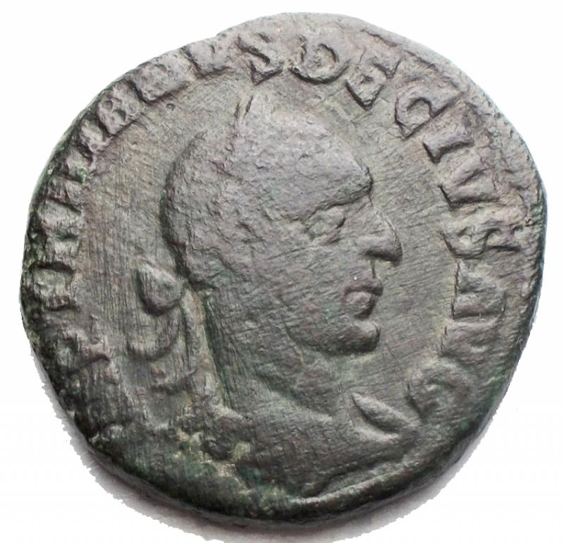 obverse: Impero Romano - Traiano Decio. Viminacium. Moesia Superiore. 249-251 d.C.  D/ Busto laureato a destra. R/ Moesia al centro tra un leone stante verso sinistra ed un toro verso destra, in esergo AN XI. Peso 13,74 gr . Diametro 27,02 mm.