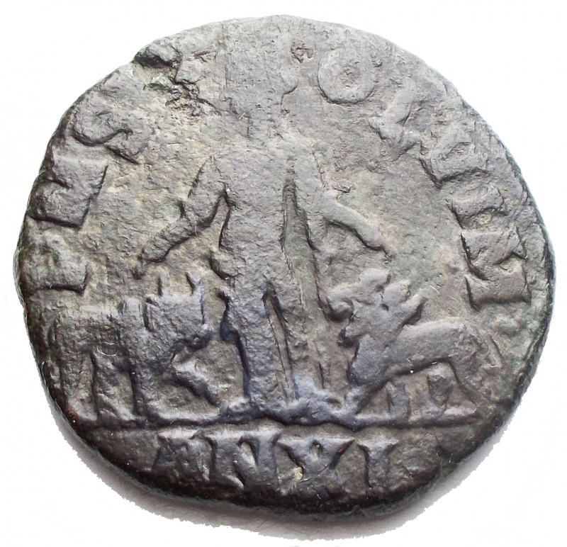 reverse: Impero Romano - Traiano Decio. Viminacium. Moesia Superiore. 249-251 d.C.  D/ Busto laureato a destra. R/ Moesia al centro tra un leone stante verso sinistra ed un toro verso destra, in esergo AN XI. Peso 13,74 gr . Diametro 27,02 mm.