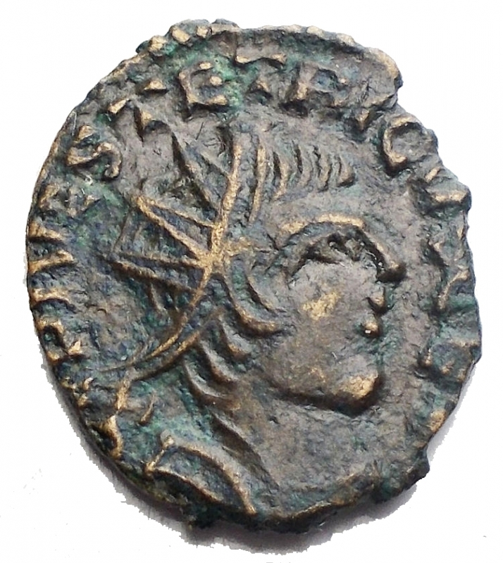 obverse: Impero Romano - Tetrico I°. Usurpatore in Gallia 271-274. Ae Zecca incerta. r/ Pax Avg. g 1,75. mm 13,9 x 17,2. qSPL. Bell esemplare di particolare stile