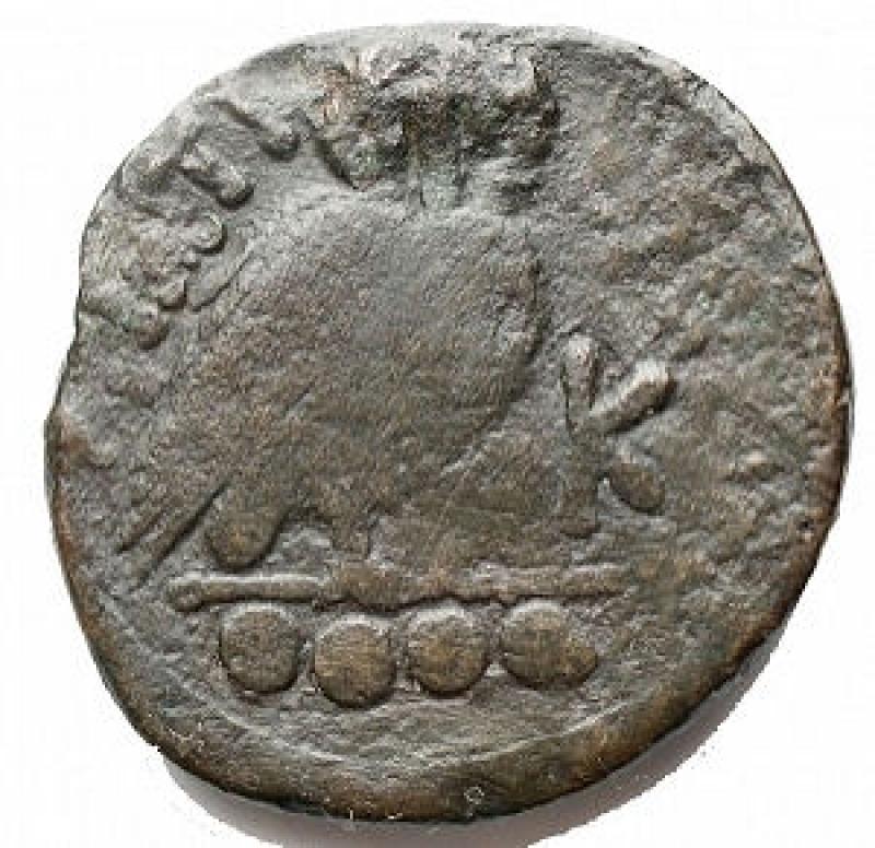 reverse: Mondo Greco - Apulia.Teate. Quadrunx AE. ca. 225-200 a.C. d/ Testa elmata di Athena a destra r/ Civetta stante a destra, con la testa rivolta a tre quarti, nel campo a ds K, a sinistra TIATI, in ex quattro (sic) globetti. D Andrea 26. Marchetti p. 480 n. 2. Cfr. HN Italia 702 a (Quincunx: Quadrunx mancante in questa serie). g 12,3. mm 26,3. qBB. Patina verde scuro. RR. Molto raro. Esemplare di tipologia molto interessante, non elencato in HN Italia come Quadrunx.
