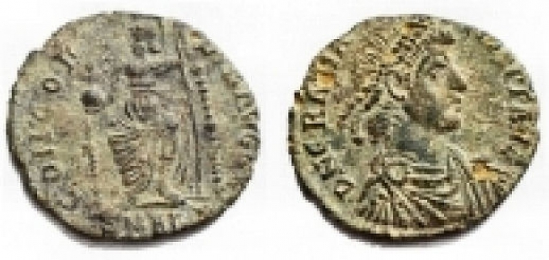 obverse: Impero Romano - Gratian 367-383. Centennional Ae. Nicomedia 378-383. d / Bust to right r / CONCORDIA AVGGG. 1.63 gr. 17.36 mm. VF-VF +
