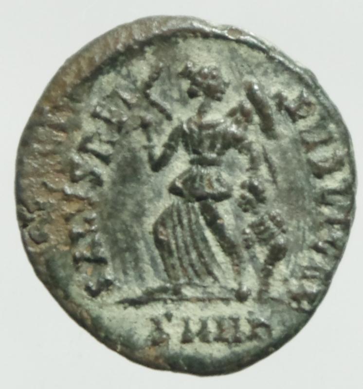 reverse: Impero Romano. Arcadio. 383-408 d.C. Ae IV. D/ DN ARCADIVS PF AVG Busto diademato verso destra. R/ SALVS REI PVBLICAE La vittoria avanza a sinistra.RIC.26c. Zecca di Cizico. Peso 1,27 gr. Diametro 13,41 mm. RIC.IX 86c. qSPL