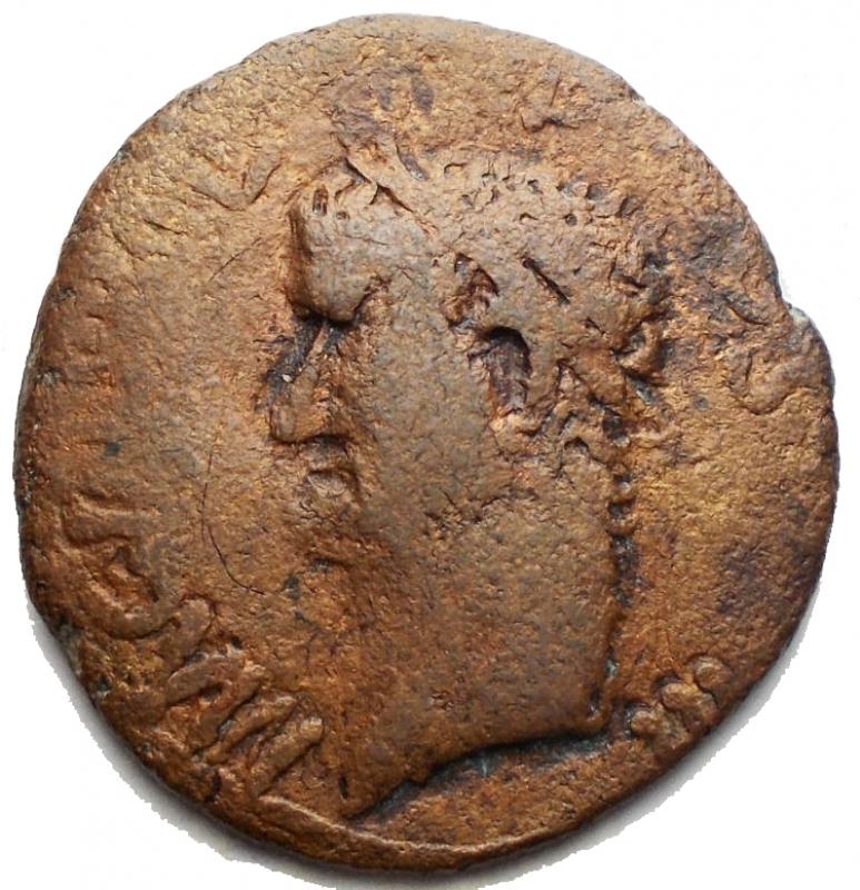 obverse: Monete Barbariche - Agrippa asse g 9,2. mm 24,9 x 26,4. Colorazione marrone rossa