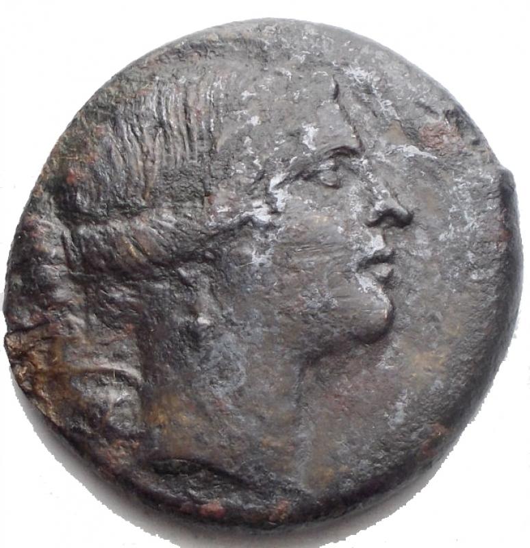 obverse: Mondo Greco - Bruttium. Rhegium. 260-215 a.C.AE. D/ Testa di Artemide a destra. R/ PHIN. Lira SNG ANS 729.Peso gr. 7,77. Diametro mm. 22,6.BB/qBBNC.
