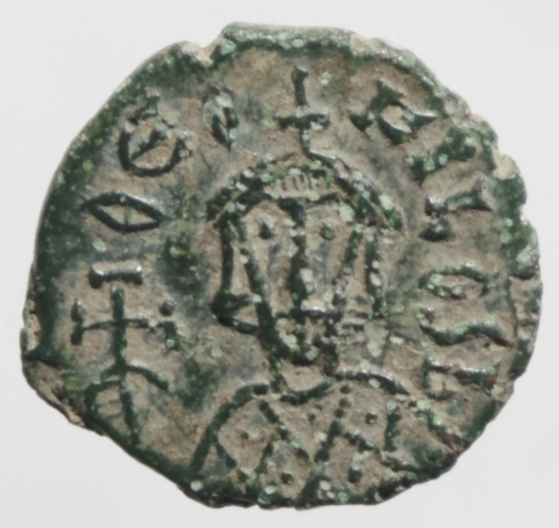 obverse: Bizantini .Teofilo II. 829-842 d.C. Follis. AE. Siracusa. D/ EOFILOS bAS. Busto frontale di Teofilo. R/ Busti frontali di Michele II e Costantino. Cfr. SPAHR 413. Peso 1,95 gr .qSPL.