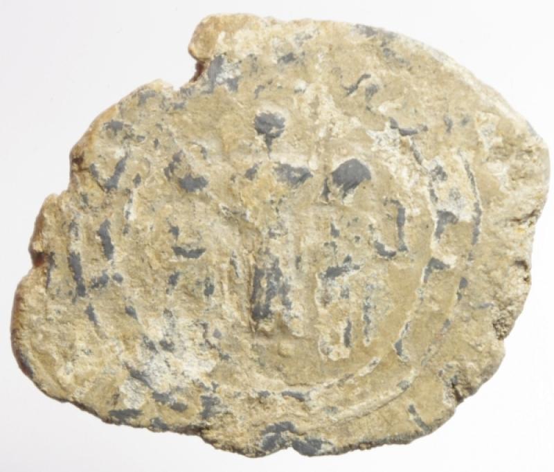 obverse: Bizantini.Sigillo in piombo con 3 figure stanti.Peso 18,05 gr.Diametro 24\31 mm.MB+.
