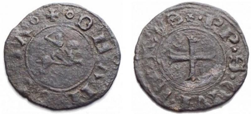 obverse: Zecche Italiane - Ancona. Autonome (XIII-XV sec.). Quattrino. MI. R/ Cavaliere al galoppo. gr 0,71. mm 17,52. CNI 33. NC