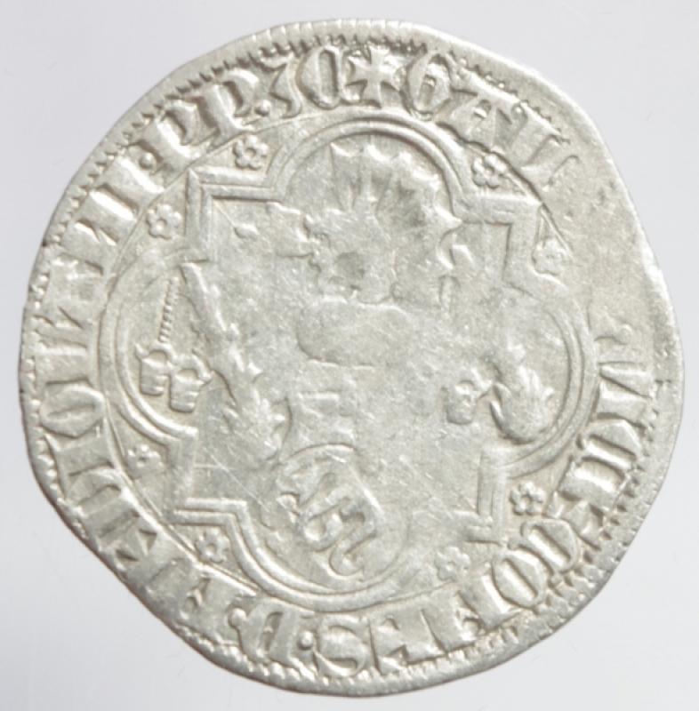 reverse: Zecche Italiane. Pavia. Galeazzo II Visconti. 1359-1378. Grosso da un soldo e mezzo.Peso 2,50 gr. Ag. Cast.1. BB. R.