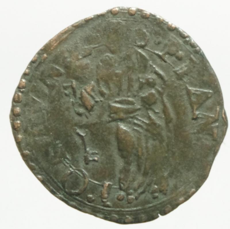 reverse: Zecche Italiane. Fano. Sisto V (1585-1590). Quattrino. M.116. R. AE. Peso 0,65 gr.BB.