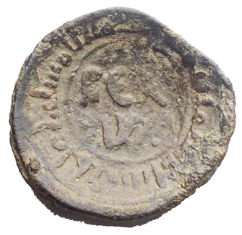 obverse: Zecche Italiane - Messina. Guglielmo I (1154-1166). Follaro frazione. D/ REX W. R/ La Vergine con il Bambino. AE, 1.20 gr.