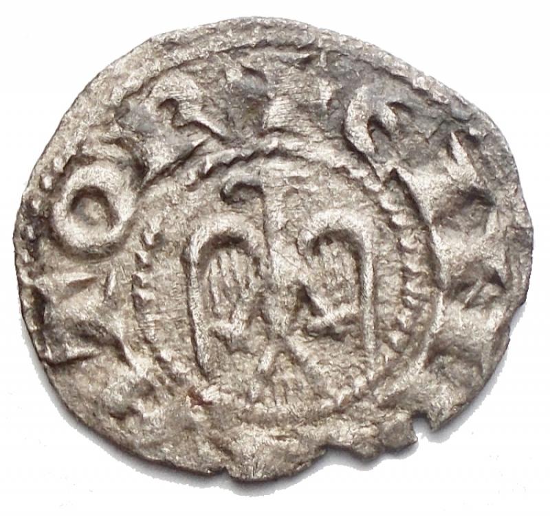 reverse: Zecche Italiane - Messina Enrico VI (1191-1197) Denaro del 1196a nome di Enrico e Federico. D/ Busto di Federico bambino. R/ Aquila. Gr. 0.59. MI. Sp.32. R. BB+. Argentatura