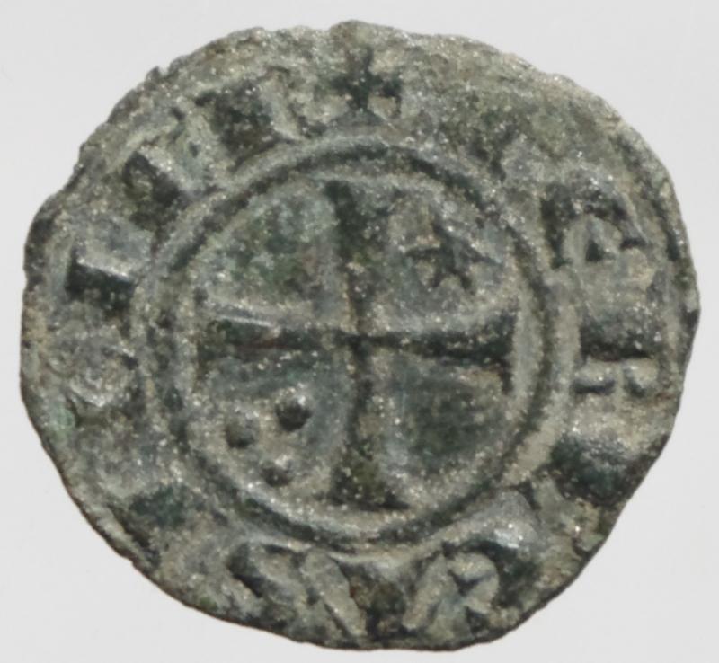 obverse: Zecche Italiane.Messina e Brindisi. Federico II (1220-1250, Svevi) Denaro. D/Crescente con A. R/Croce patente.Peso 0,80 gr. Spahr.123. MI. BB+