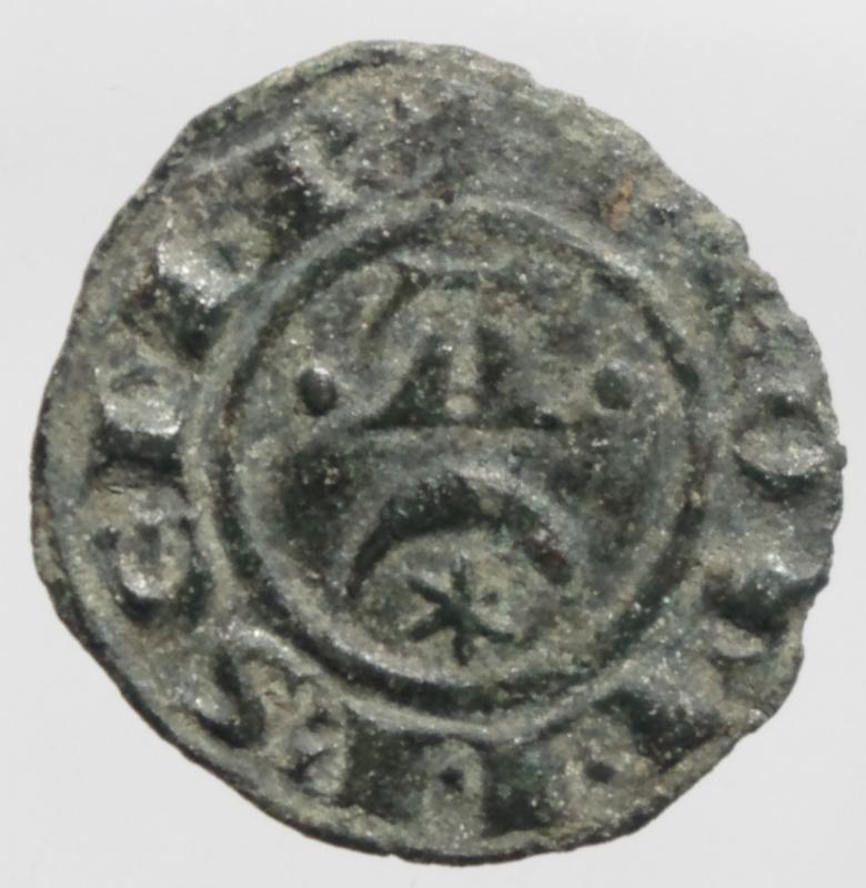 reverse: Zecche Italiane.Messina e Brindisi. Federico II (1220-1250, Svevi) Denaro. D/Crescente con A. R/Croce patente.Peso 0,80 gr. Spahr.123. MI. BB+